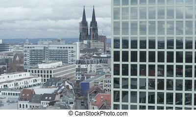 кафедральный собор, одеколон, передний план, величественный, облачный, широкий, выстрел, офис, воздух, день, германия, здание, aerial: