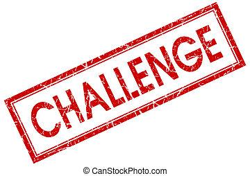квадрат, печать, вызов, isolated, задний план, шероховатый, белый, красный