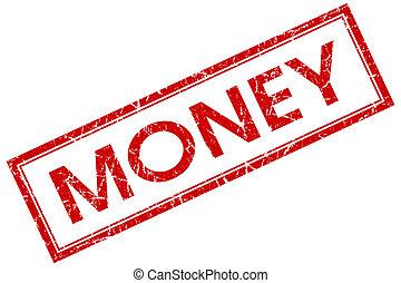 квадрат, печать, деньги, isolated, задний план, шероховатый, белый, красный