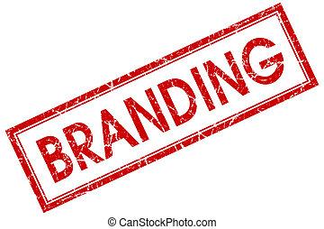 квадрат, печать, branding, isolated, задний план, шероховатый, белый, красный