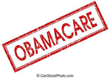квадрат, печать, obamacare, isolated, задний план, шероховатый, белый, красный