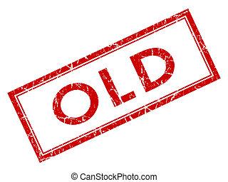 квадрат, старый, печать, isolated, задний план, шероховатый, белый, красный