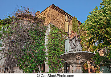 квадрат, fontaine, france:, ля, de, vaucluse, место,...