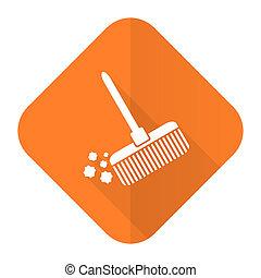 квартира, метла, знак, чистый, оранжевый, значок