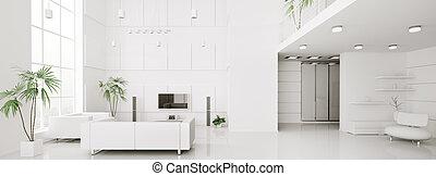 квартира, оказывать, панорама, современное, интерьер, белый, 3d