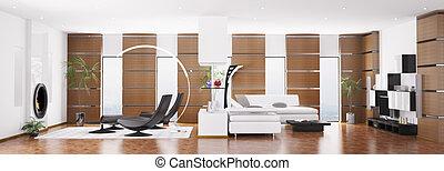 квартира, оказывать, панорама, современное, интерьер, 3d