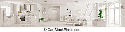 квартира, панорама, оказание, интерьер, белый, 3d