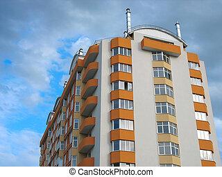 квартира, просто, дом, над, небо, облачный, законченный, новый