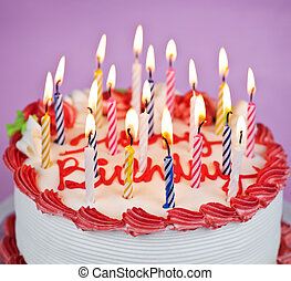 кекс, освещенный, день рождения, свечи
