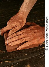 керамика, craftmanship, гончар, руки, работа, глина