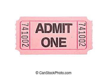 кино, билет, isolated, на, белый