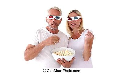 кино, пара, наблюдение, 3d