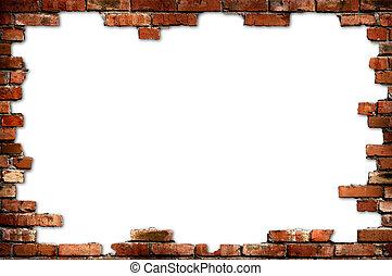 кирпич, стена, шероховатый, рамка