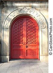 китайский, древний, архитектура, дверь