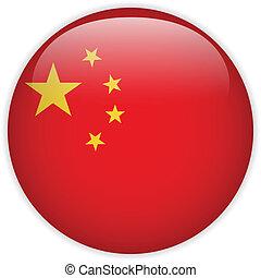 китай, флаг, глянцевый, кнопка