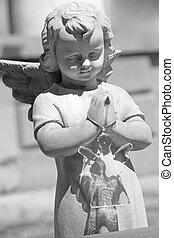 кладбище, ангел, держа, стакан, ангел, игрушка