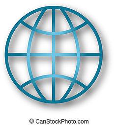 классический, земной шар, with, падение, тень