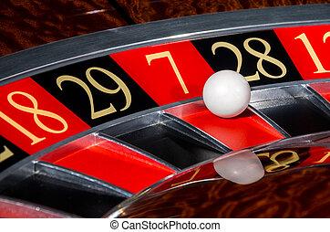 классический, казино, рулетка, колесо, with, красный, сектор, семь, 7