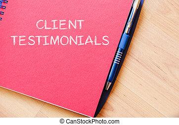 клиент, testimonials, записывать, на, блокнот