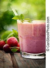 клубника, фрукты, напиток