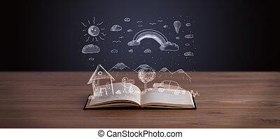 книга, пейзаж, открытый, рука, вничью