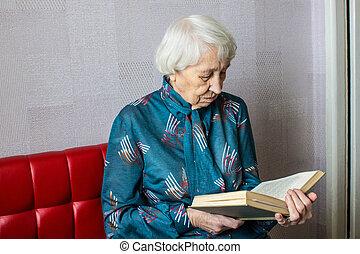 книга, чтение, женщина, старшая, главная