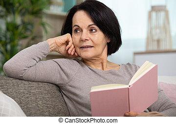 книга, чтение, старшая, женщина, главная