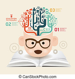 книга, шаблон, используемый, lines, порез, infographics, /, ...