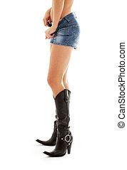 ковбой, ботинки, and, джинсовая ткань