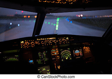 кокпит, самолет, современное, коммерческая, пассажирский...