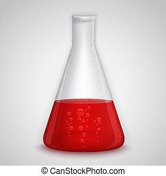 колба, лаборатория, красный, жидкость