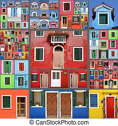 коллаж, дом, абстрактные