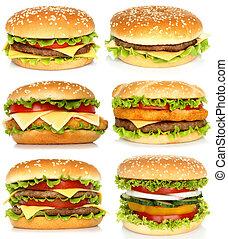 коллаж, of, большой, hamburgers