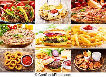 коллаж, of, быстро, питание, продукты