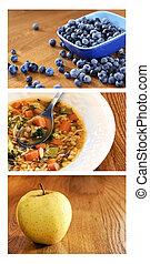 коллаж, of, здоровый, питание, на, дерево, таблица