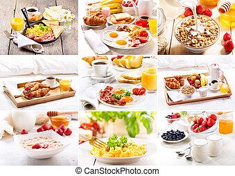 коллаж, of, различный, завтрак