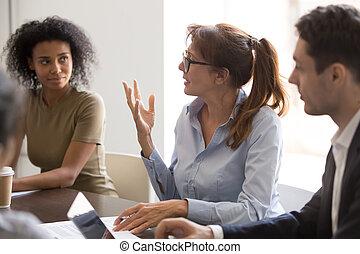 коллега, ideas, разнообразный, брифинг, discussing, мозговой штурм