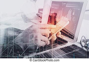 коллега, web, designer, таблетка, discussing, портативный компьютер, концепция, два, диаграмма, телефон, компьютер, дизайн, цифровой, стол письменный, данные, мрамор, умная
