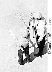 команда, architects, сайт, строительство
