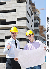 команда, of, architects, на, строительство, сайт