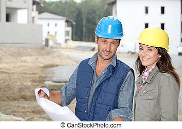 команда, of, architects, checking, plans, на, сайт