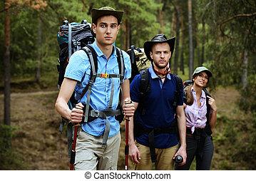 команда, of, backpackers