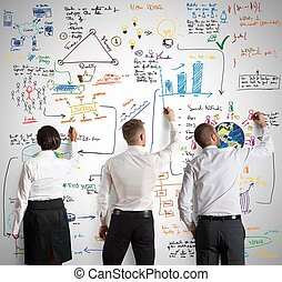 командная работа, with, новый, бизнес, проект