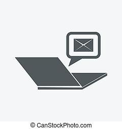 коммуникация, над, значок, интернет