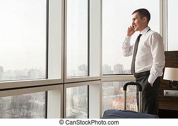 комната, гостиница, молодой, вызов, изготовление, бизнесмен