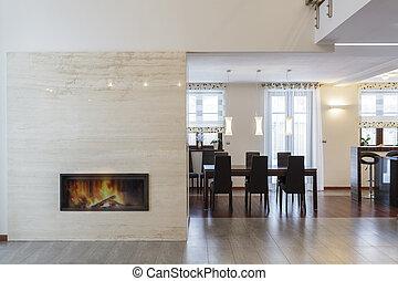 комната, -, обеденный, дизайн, большой, камин