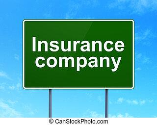 компания, знак, concept:, задний план, страхование, дорога