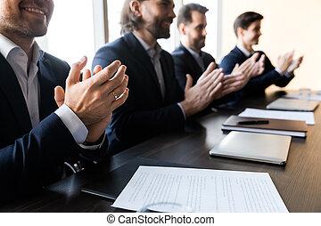 компания, рукоплескать, закрыть, вверх, встреча, businessmen, бизнес