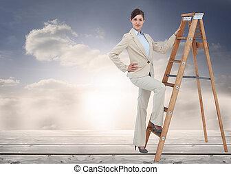композитный, лестница, образ, улыбается, бизнес-леди,...
