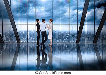 композитный, talking, бизнес, colleagues, образ